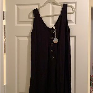 Black Button Front Cropped Maternity Jumpsuit